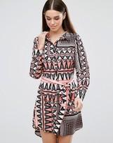 AX Paris Printed Belted Shirt Dress