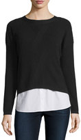 Lafayette 148 New York Popover Combo Sweater Top, Black