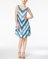Style&Co. Style & Co Style & Co Petite Printed Cross-Back Shift Dress, Created for Macy's