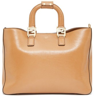 Fendi Ff Leather Tote Bag - Tan
