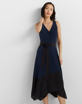 Club Monaco Colorblock Wrap Dress