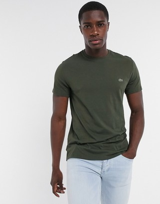 Lacoste pima cotton t-shirt with croc in khaki