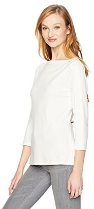 Nautica Women's Long Sleeve Lace Up Shoulder Top