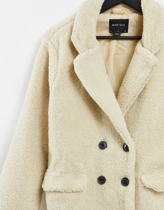 Brave Soul kyrati borg coat in dark cream