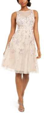 Adrianna Papell Embellished Illusion Fit & Flare Dress