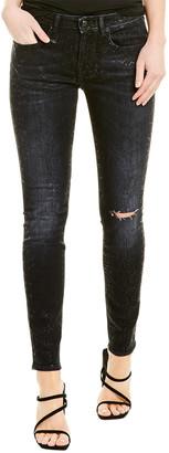 R 13 Alison Black Snake Foil Print Skinny Leg