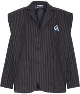 Jacquemus Pinstriped Textured-crepe Blazer - Dark gray