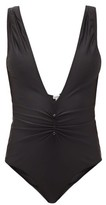 Ganni Ruched-front Recycled-jersey Swimsuit - Womens - Black