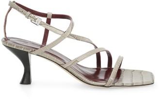 STAUD Gita Croc-Embossed Leather Sandals