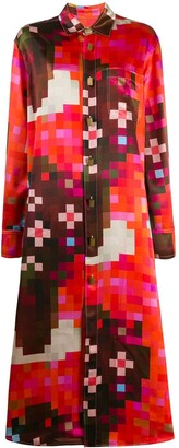 Marni Pixelated Print Shirt Dress