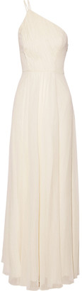 Halston One-shoulder Pleated Metallic Georgette Gown