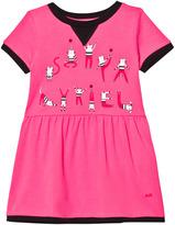 Sonia Rykiel Pink Cat Print Branded Jersey Dress