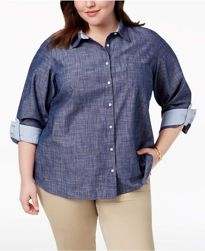 Tommy Hilfiger Plus Size Cotton Chambray Roll-Sleeve Shirt