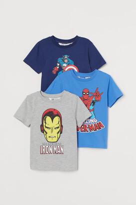 H&M 3-pack Printed T-shirts - Blue