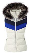 Classic Women's Plus Size Hooded Down Vest-Ivory Colorblock