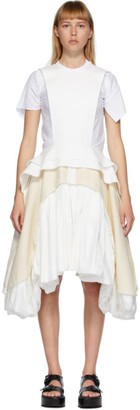 Comme des Garcons White and Off-White Cloth Apron Dress