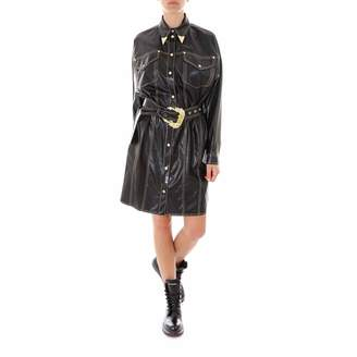 Versace Belted Leather Shirt Dress