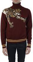 Dolce & Gabbana Wine Red Lion King Embroidery Turtleneck