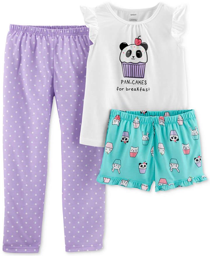 Carter's Carter Little Girls 3-Pc. Panda-Print Pajamas Set