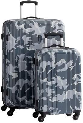 Pottery Barn Teen Channeled Hard-Sided Gray Camo Luggage Bundle, Set of 2