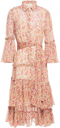 By Ti Mo Tiered Floral-print Crepon Midi Dress