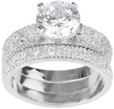Journee Collection 5 3/4 CT. T.W. Round-cut CZ Pave Set Polished Wedding Ring Set in Sterling Silver