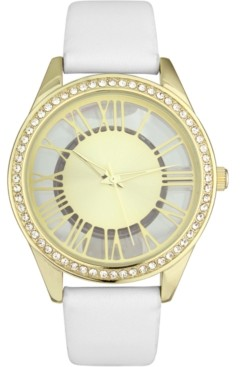 INC International Concepts Inc Women's White Faux Leather Strap Watch 32mm, Created for Macy's