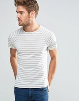 Blend of America Striped Slim Raglan T-Shirt in Classic Blue