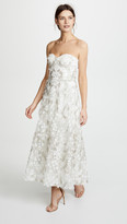 Marchesa 3D Embroidered Strapless Gown