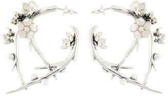 Shaun Leane sterling silver Cherry Blossom diamond and pearl branch earrings