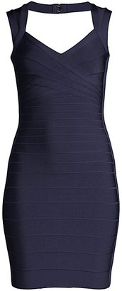 Herve Leger Basics Cocktail V-Neck Bandage Dress