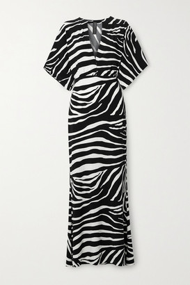 Norma Kamali Obie Zebra-print Stretch-jersey Maxi Dress