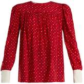 Miu Miu Polka-dot print silk crepe de Chine blouse