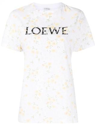 Loewe White Floral Print Logo T-shirt