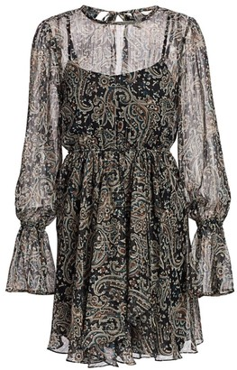 Joie Manning Sheer Paisley Popover Flare Dress
