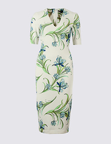 M&S Collection Floral Print Scuba Bodycon Dress