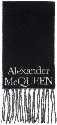 Alexander McQueen Black and White Cosy Skull Scarf