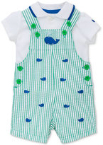 Little Me 2-Pc. Cotton Polo Shirt & Whales Overall Set, Baby Boys (0-24 months)
