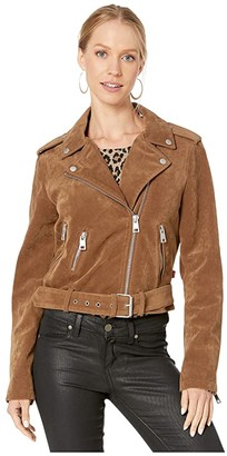 Levi's Faux Suede Moto Jacket with Belt (Red) Women's Clothing