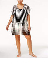 Calvin Klein Plus Size Striped Crochet Cover-Up Women's Swimsuit