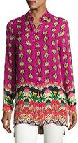 Etro Voile Ikat-Print Silk Tunic, Fuchsia