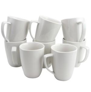 Gibson Zen Buffetware 12 Ounce Square Ceramic Mug Set, Set of 8