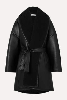 Balenciaga Oversized Belted Faux Shearling-trimmed Faux Leather Coat - Black