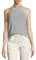 A.L.C. Brody Halter Striped Tee, Black