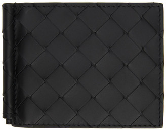 Bottega Veneta Black Intrecciato Money Clip Bifold Wallet