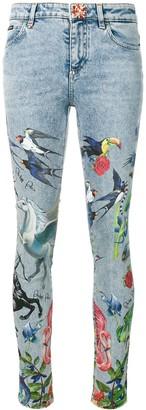 Philipp Plein Creature Print Skinny Jeans