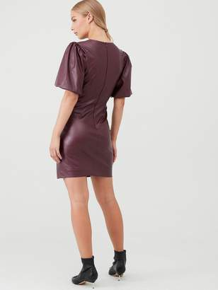 Very Puff Sleeve Pu Mini Dress - Burgundy