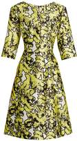 Oscar de la Renta V-neck floral-print full-skirt silk dress