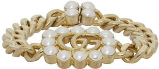 Gucci Gold Pearl Double G Bracelet