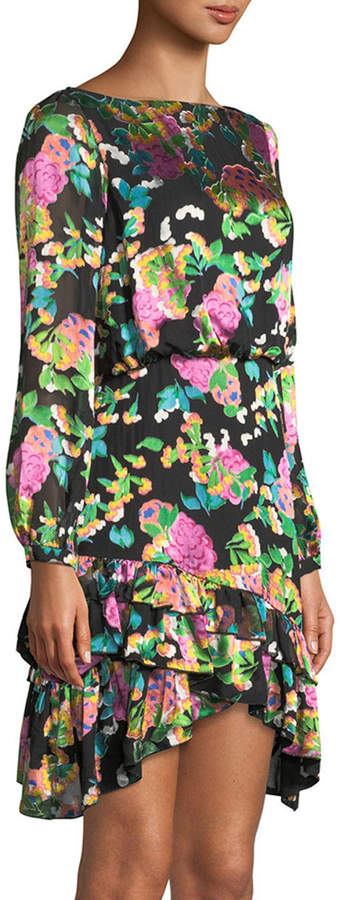 Saloni Felicia Geo-Print Ruffle Long-Sleeve Mini Dress